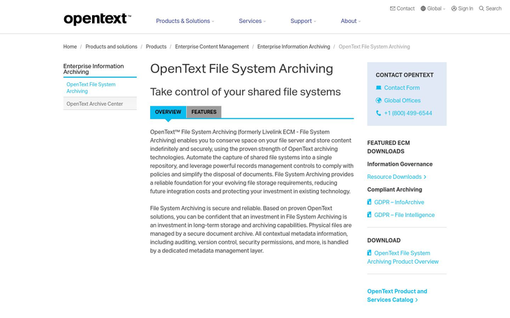 OpenText File System Archiving