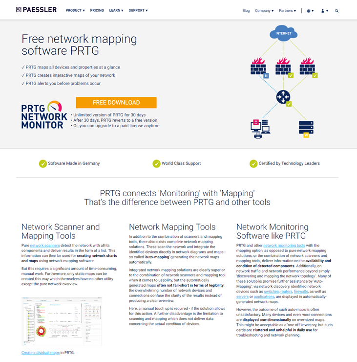 Paessler PRTG Network Monitor - Network Mapping Software