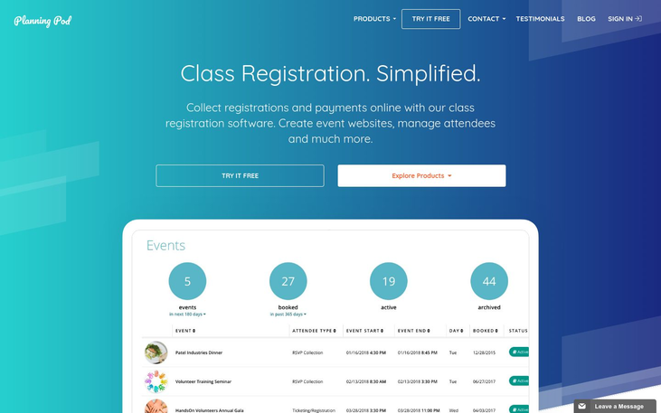 Planning Pod - Class Registration Software