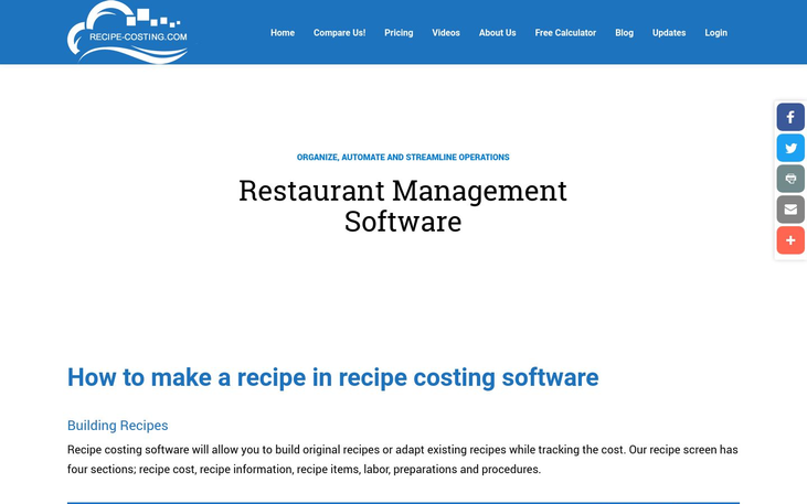 Recipe Costing Software