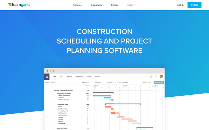 TeamGantt - Construction Scheduling Software