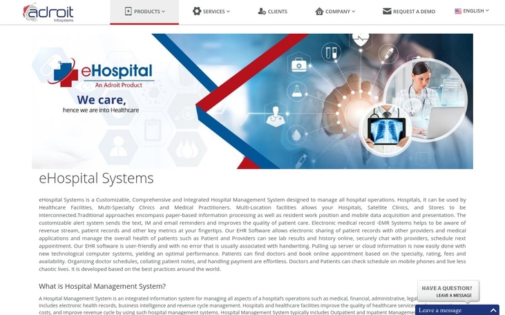 eHospital Systems - Patient Management Software