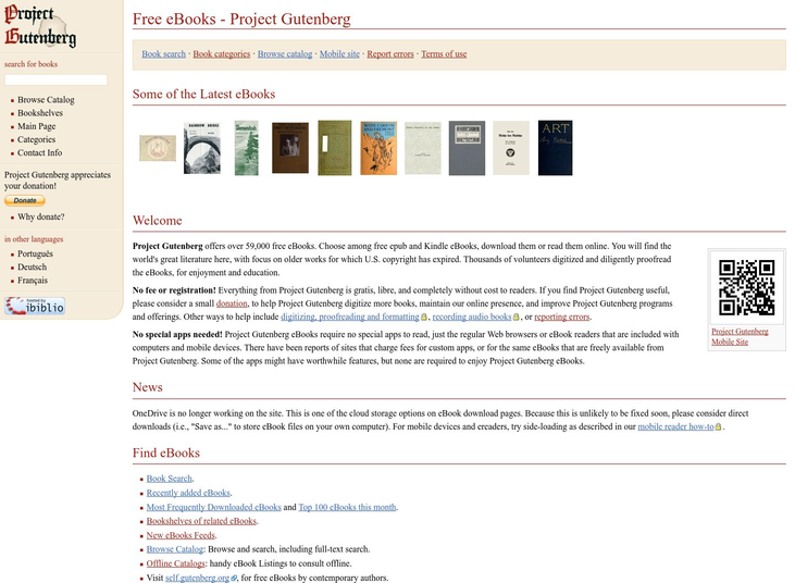 Project Gutenberg - Free Ebooks Websites