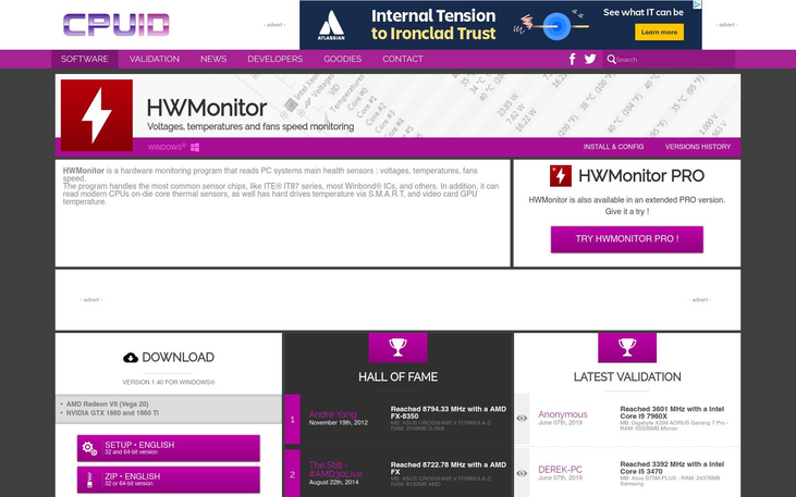 HWMonitor - CPU Monitoring Software