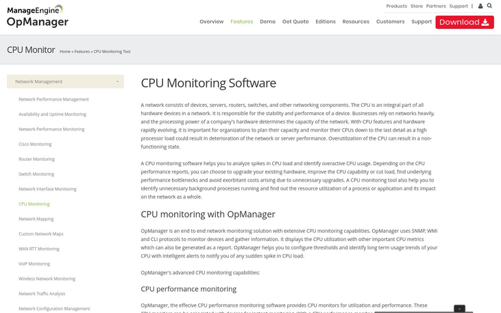OpManager - CPU Monitoring Software