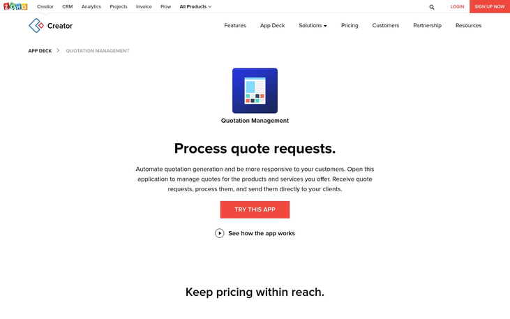 Zoho - Quoting Software