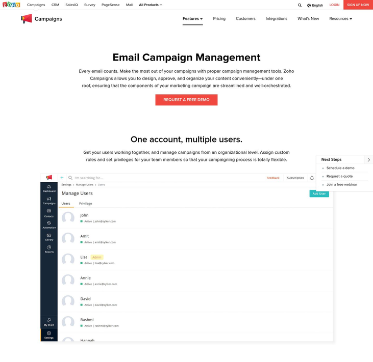 Zoho - Campaign Management Software