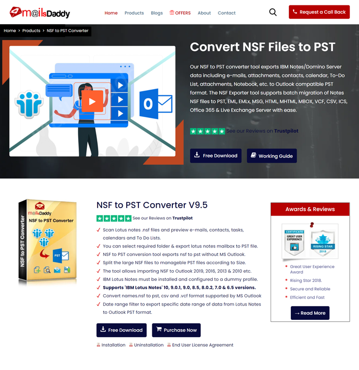 MailsDaddy NSF to PST Converter Tool